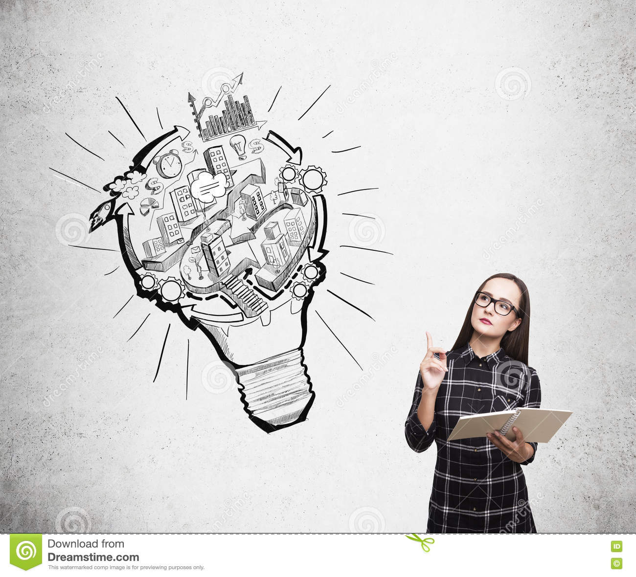 diagram of a nerd liver labeled girl in dress and urban sketch stock photo image