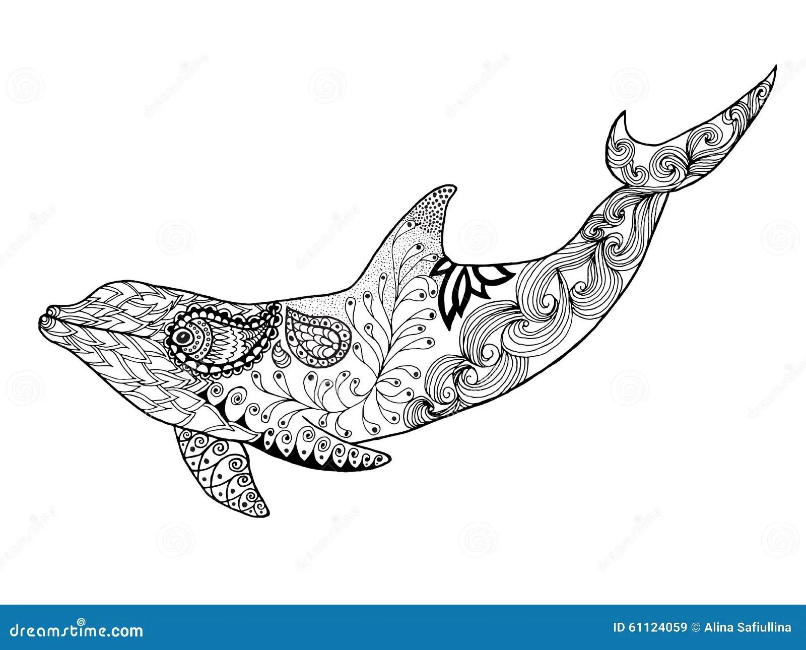 Netter Delphin Erwachsene Antistress Farbtonseite Stock