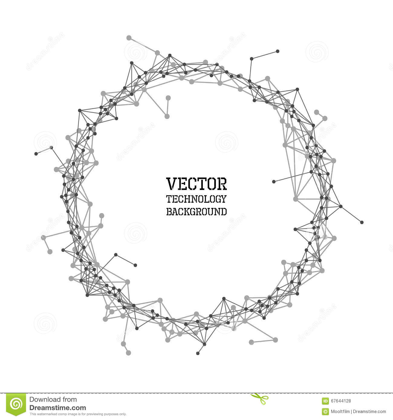 Network Abstract Polygonal Circle Background Stock Vector