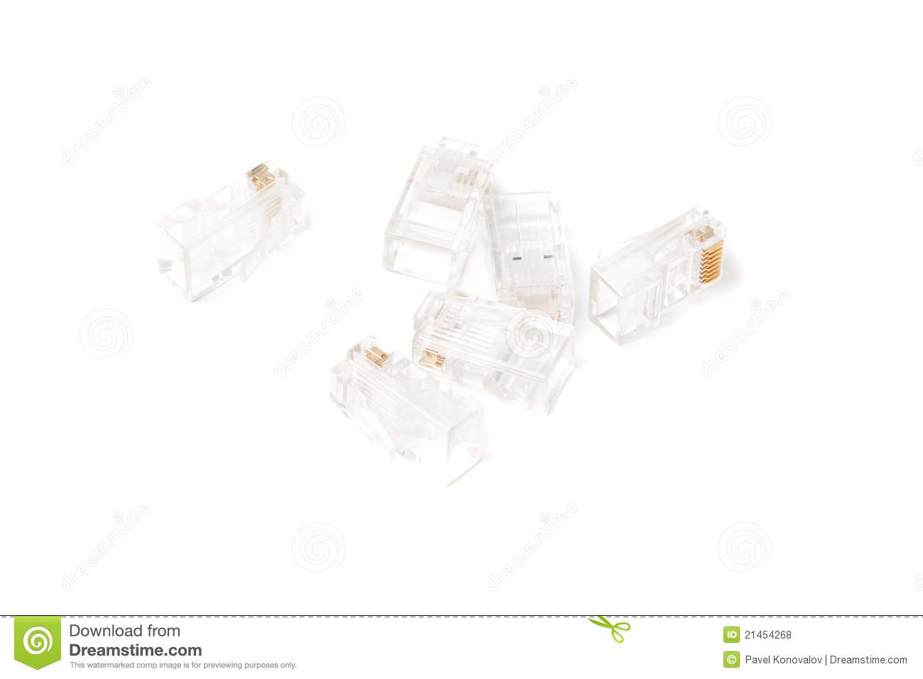 Network cable connector stock photo. Image of crimping
