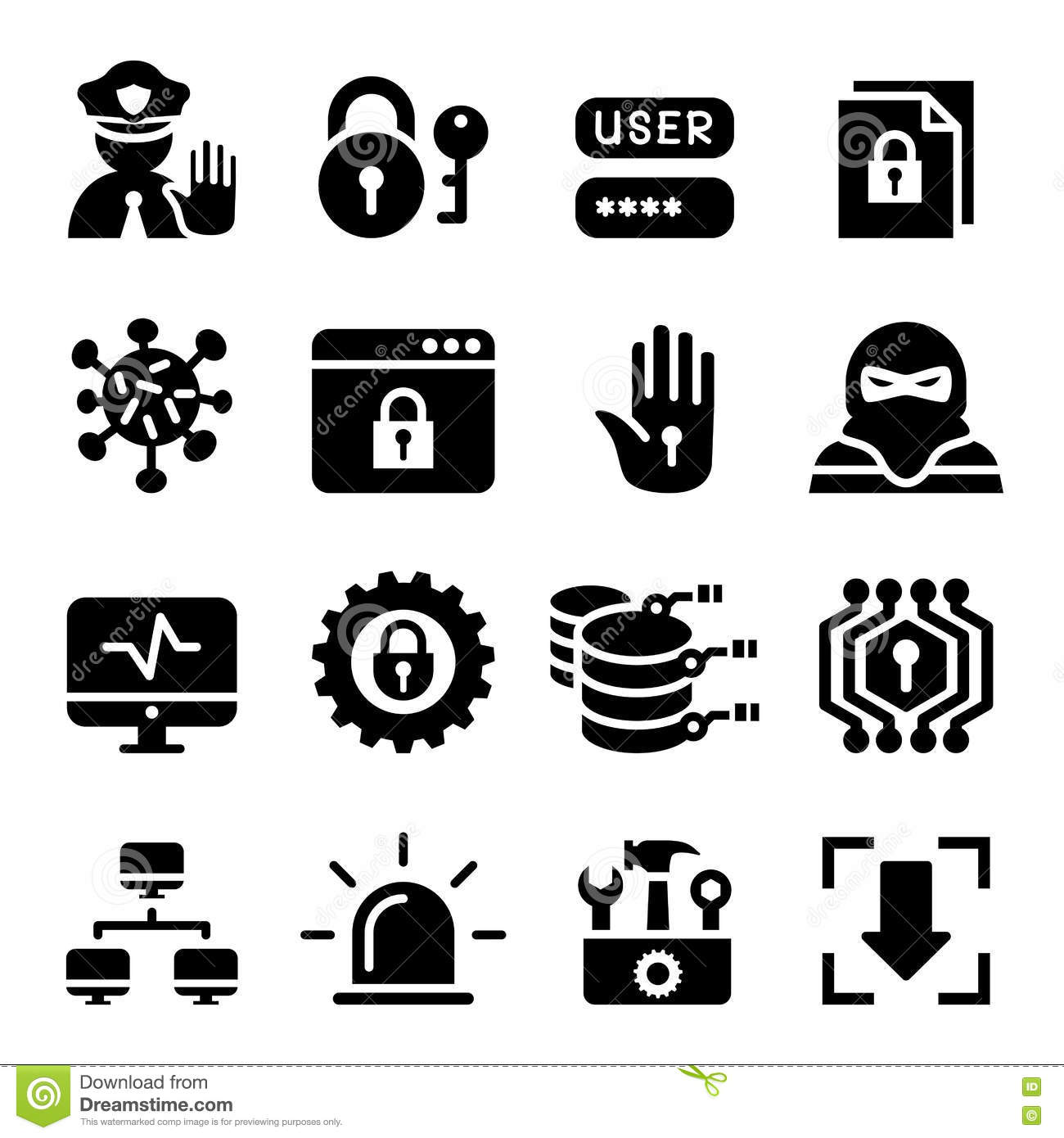 Network , Computer , Data And Internet Security Icon Set