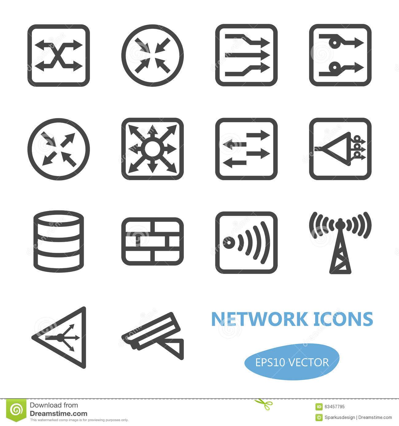 Network Devices Icon Set Stock Vector Image Of Design