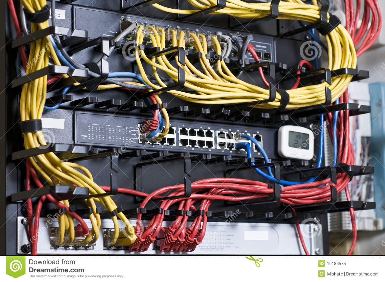 Wiring Ethernet Switch Diagram Network Hub And Patch Cables Stock Image Image 10186575