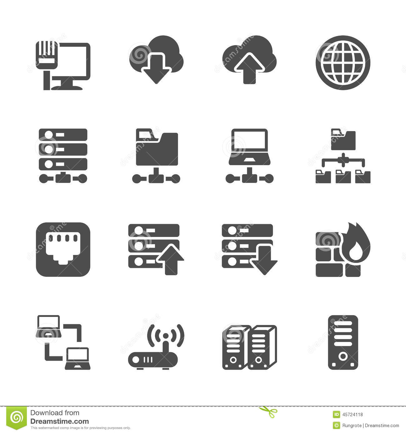 Network And Server Icon Set Vector Eps10 Stock Vector