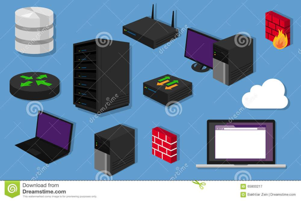 medium resolution of network topology lan objects icon design router server networking hardware router switch vector