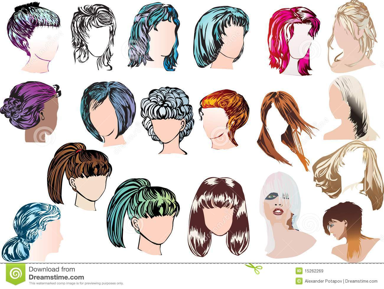 Neunzehn Moderne Frisuren Der Frau Lizenzfreie Stockbilder Bild