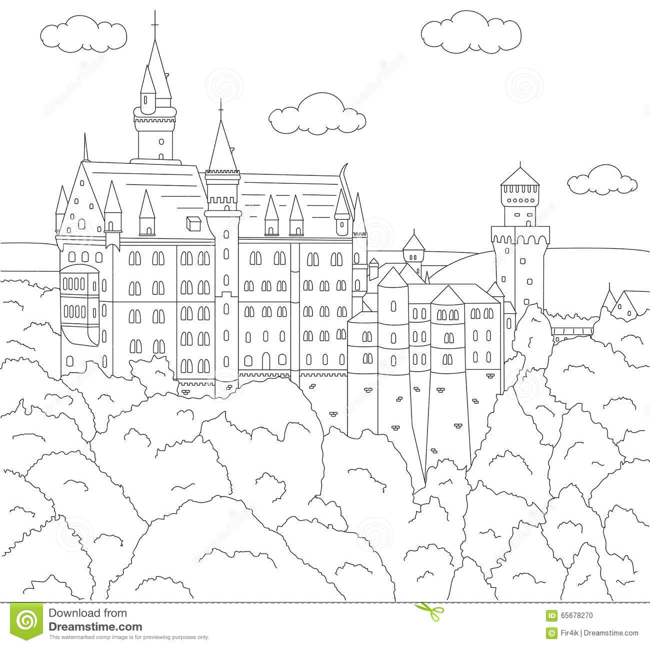 Germany Coloring Book Vector Illustration