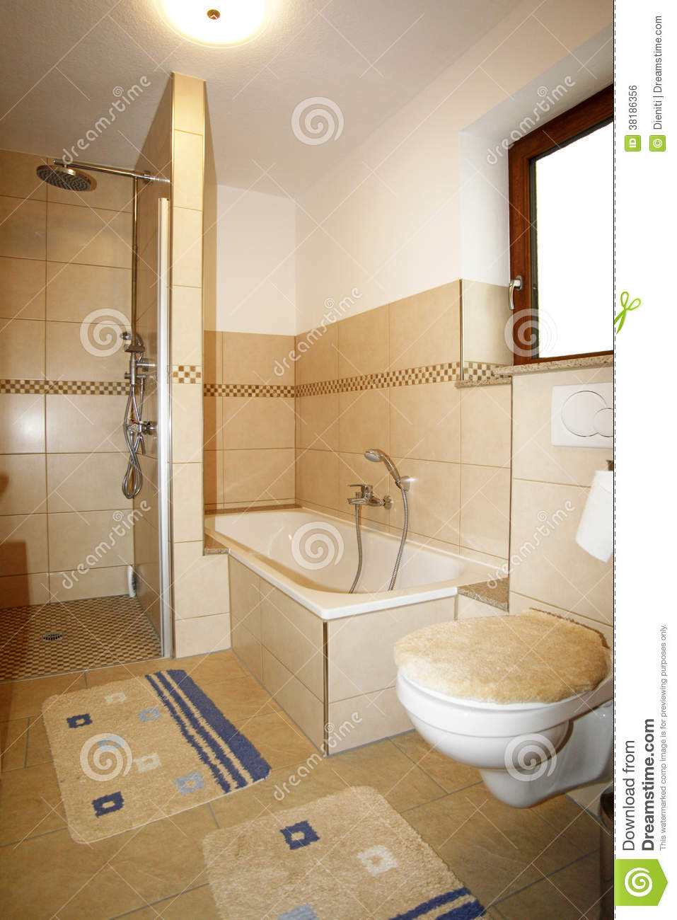 New Bathroom In Beige Brown Colours Stock Photo  Image of