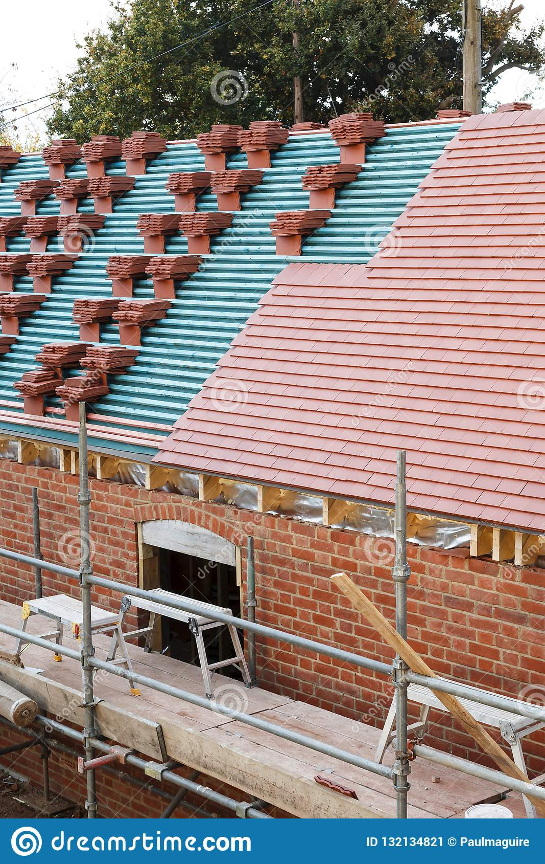 https www dreamstime com new clay tile roof building site process being tiled plain tiles image132134821