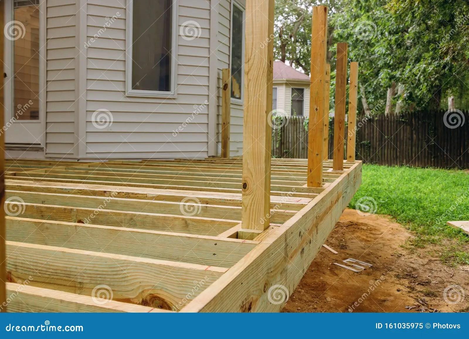 https www dreamstime com new deck patio modern wooden deck installing wood floor patio new deck patio modern wooden deck image161035975