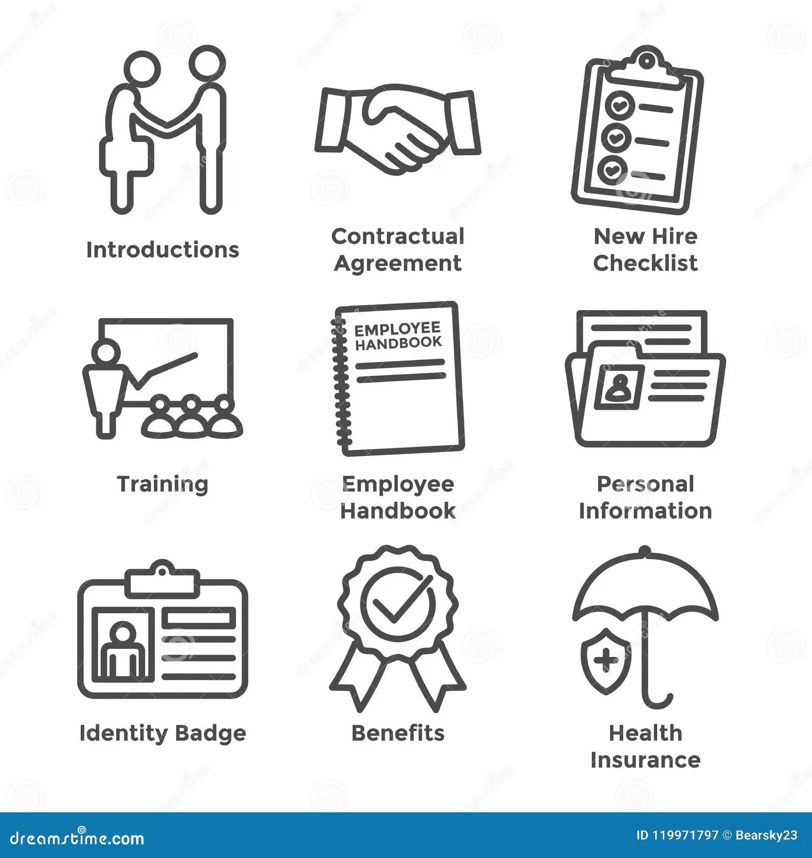 New Employee Hiring Process Icon Set W Checklist