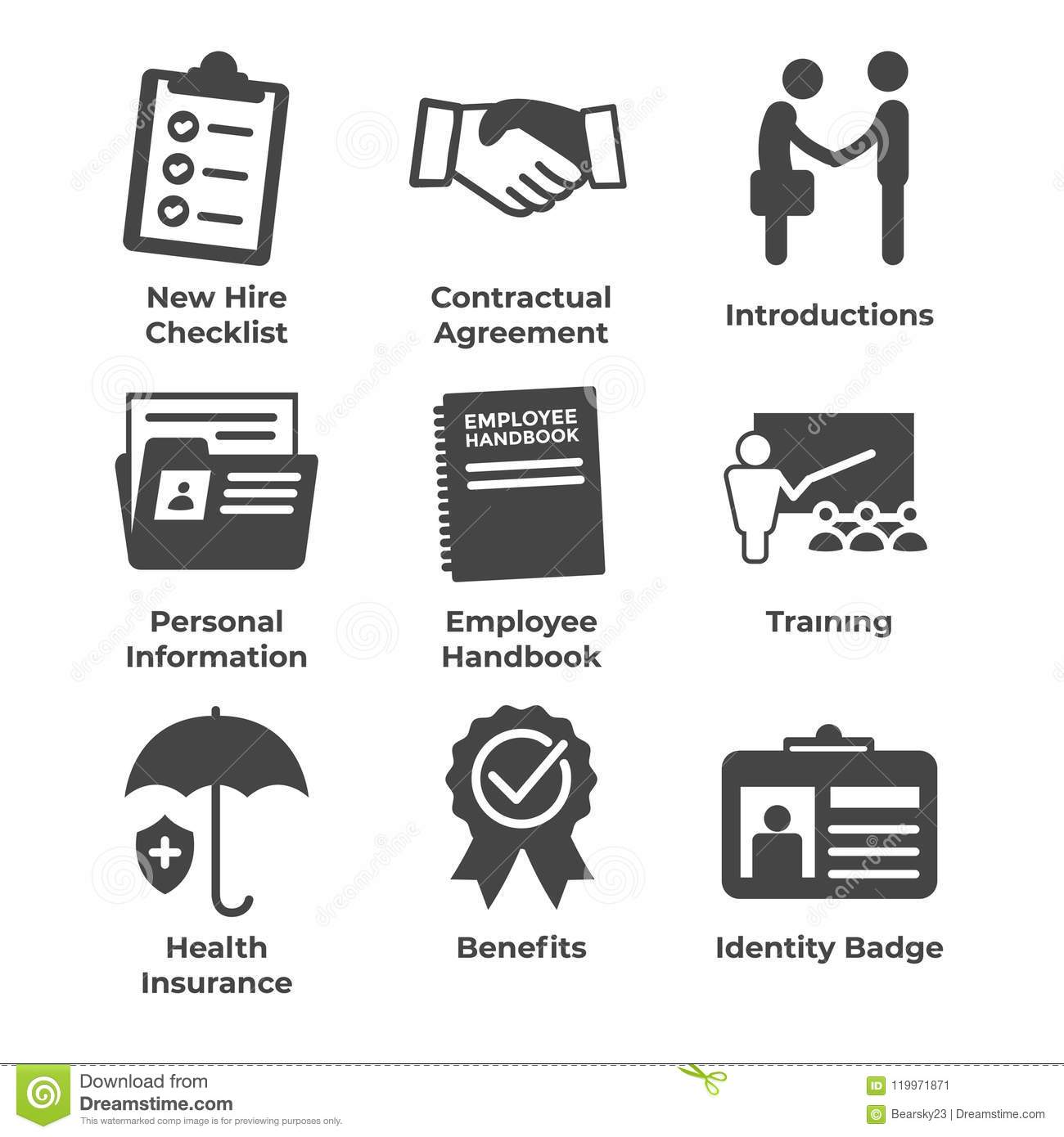New Employee Hiring Process Icon Set W Checklist