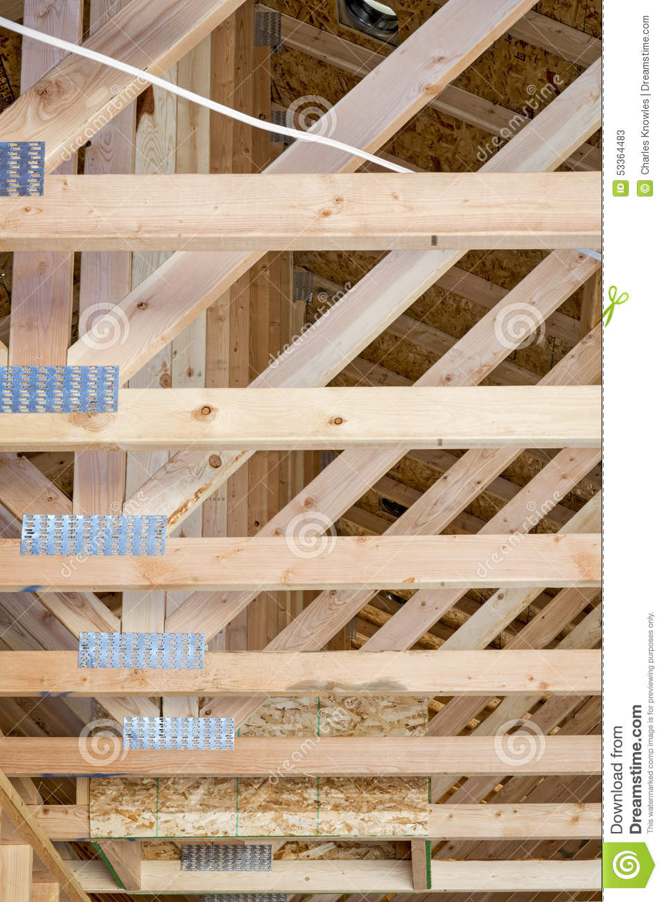 New Home Construction Roof Joists Stock Image Image Of Rough Particleboard 53364483