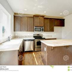 American Kitchen Cabinets New Cost Home Interior With Dark Brown Cabinets. Stock ...