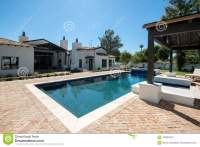 New Modern Classic Home Backyard Pool Stock Photo - Image ...