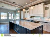 New Modern Home Mansion Kitchen Stock Image - Image of ...