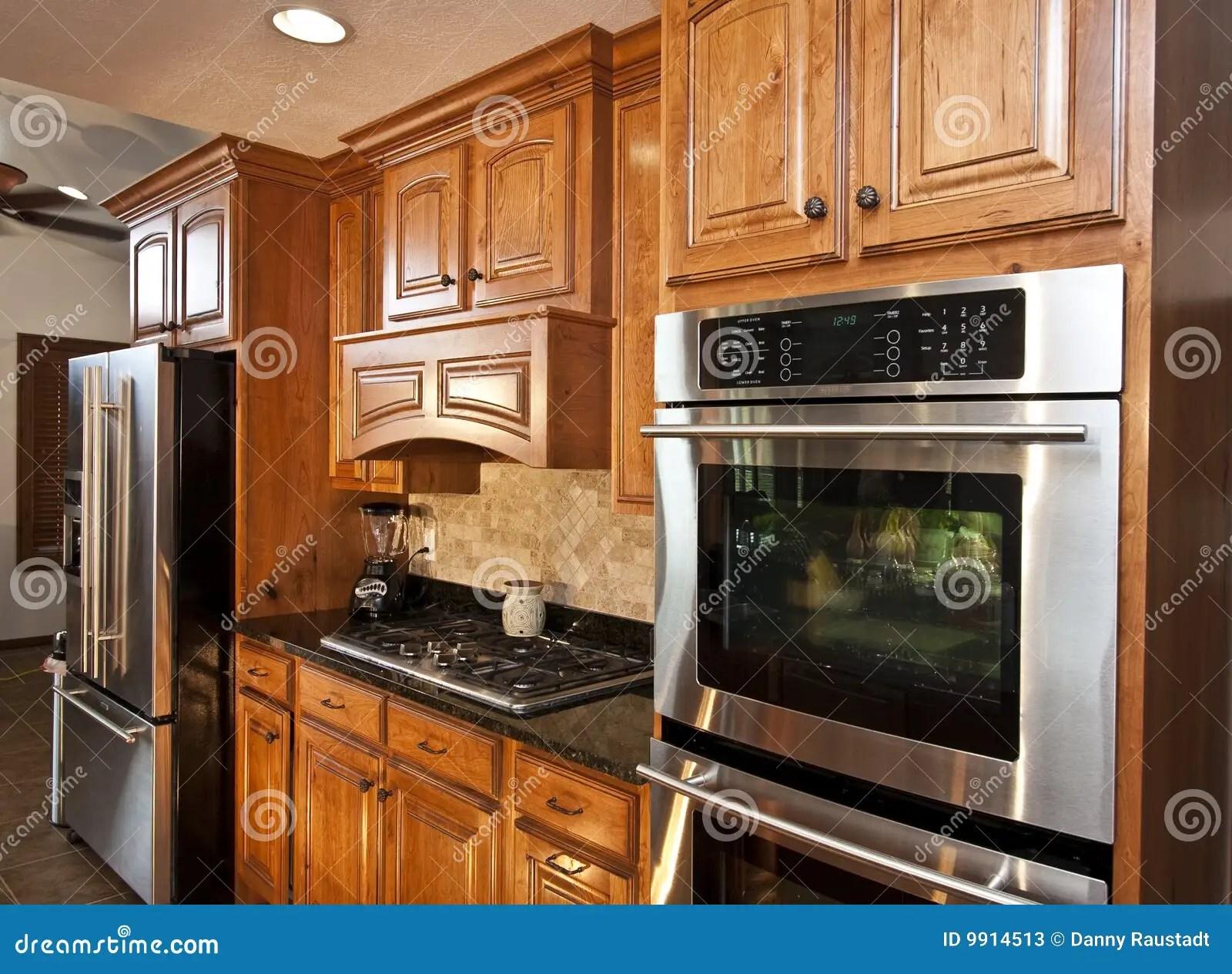 modern kitchen appliances towel bars new stock image 9914513