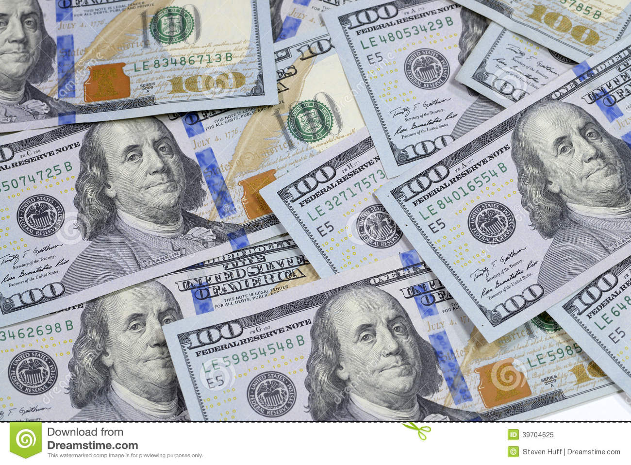 New 100 One Hundred Dollar Bill Us Bank Notes Stock Image