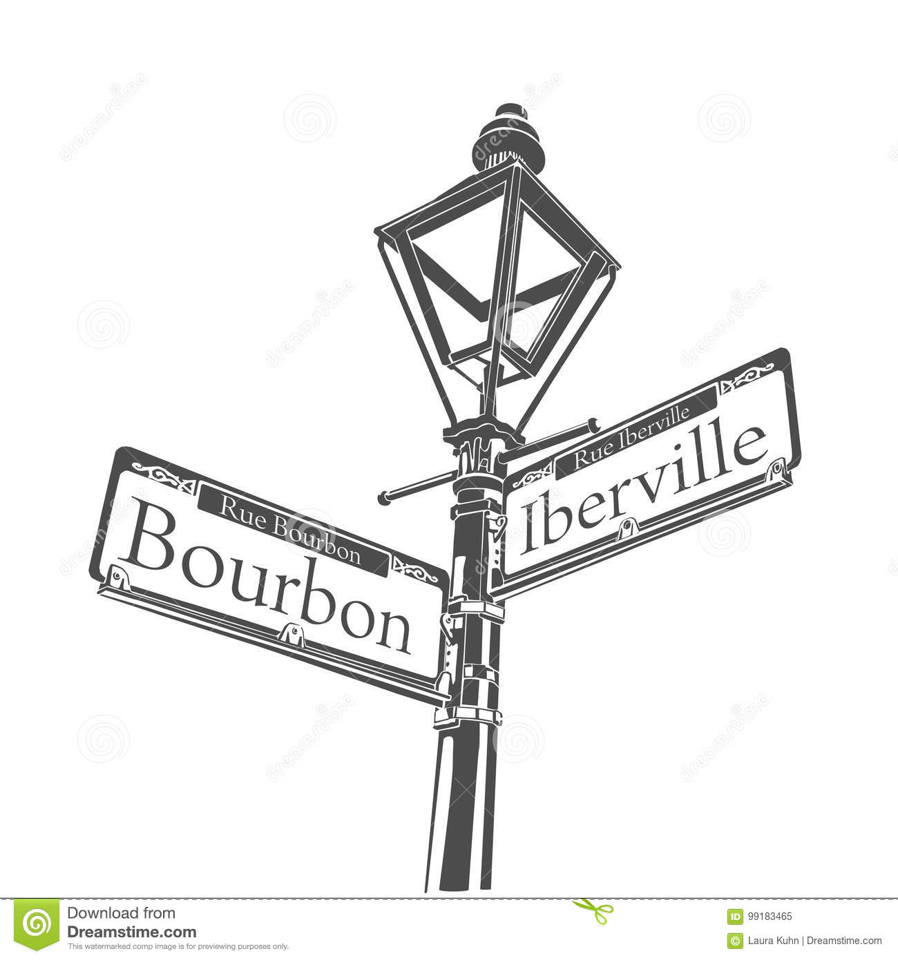 New Orleans Culture Bourbon Street Lamp Sign Stock
