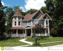 Two Story Victorian Historical Styled Resident Stock