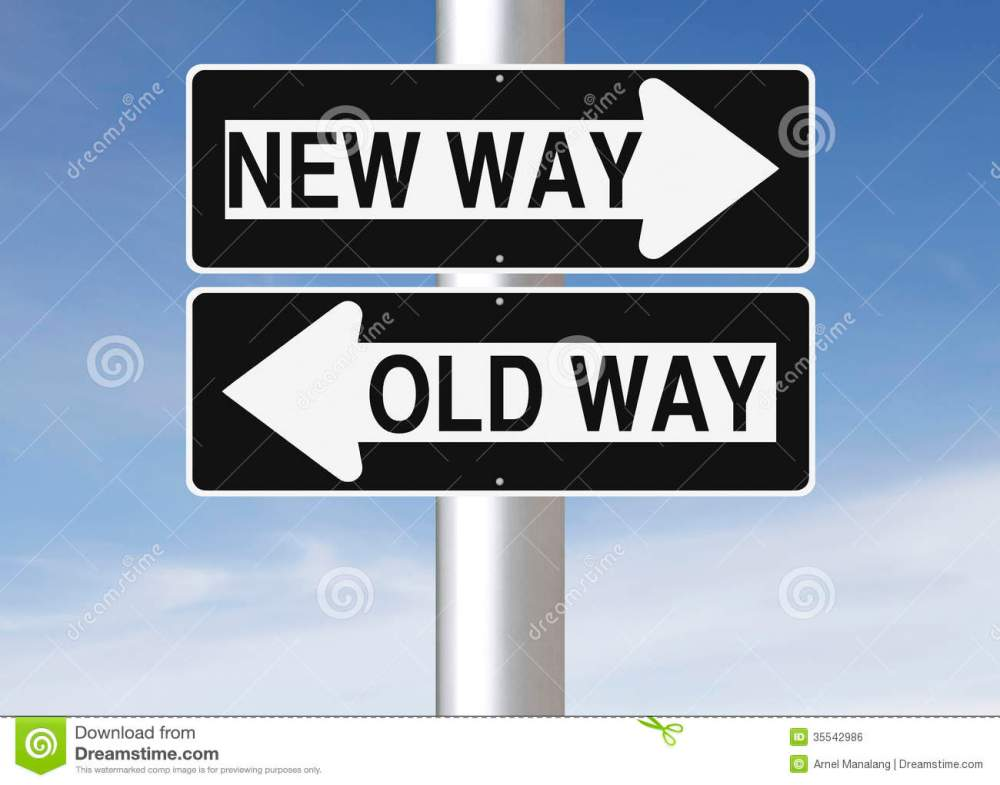 medium resolution of conceptual one way road signs on change or choices