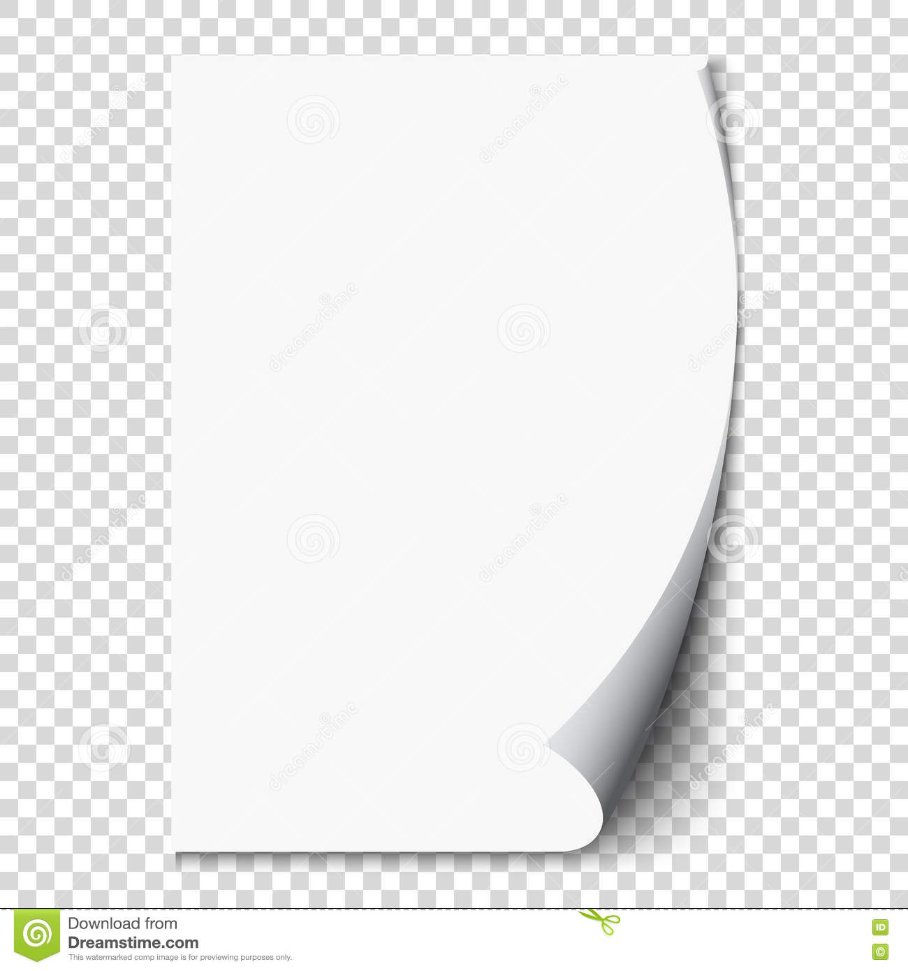 New White Page Curl On Blank Sheet Paper Realistic Empty