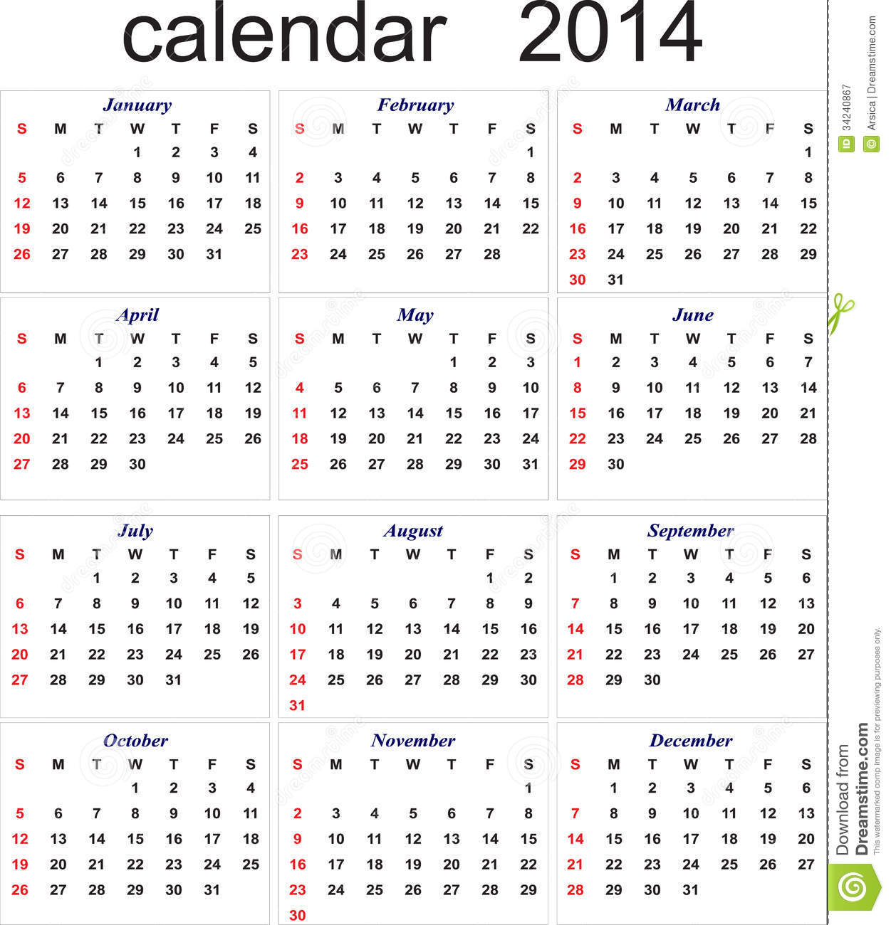 New Year Calendar For All Months Stock Vector