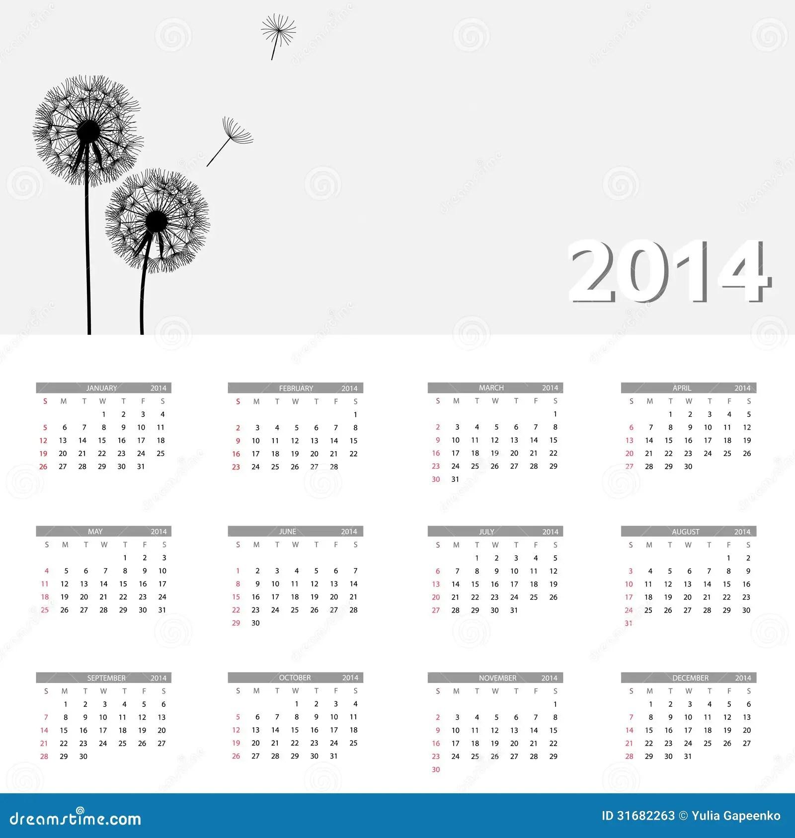 2014 New Year Calendar Vector Illustration Stock Vector
