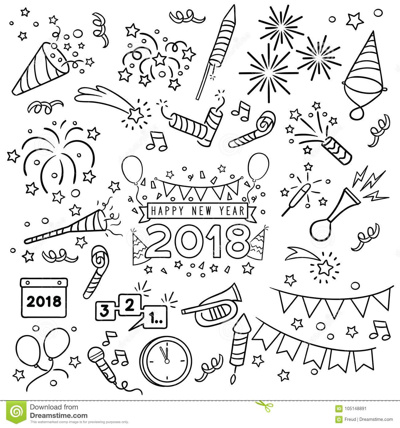 New Year Celebration Line Draw Stock Vector