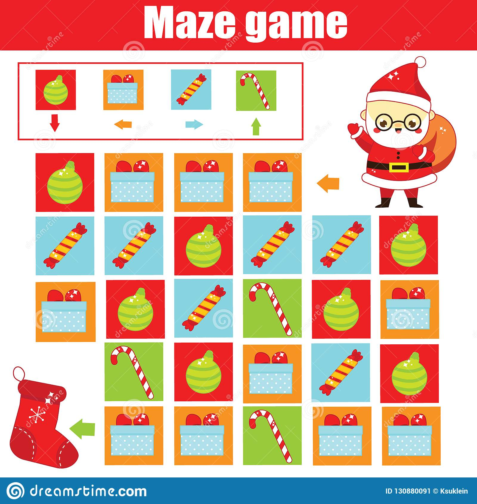 New Year And Christmas Activity Maze Game Labyrinth With