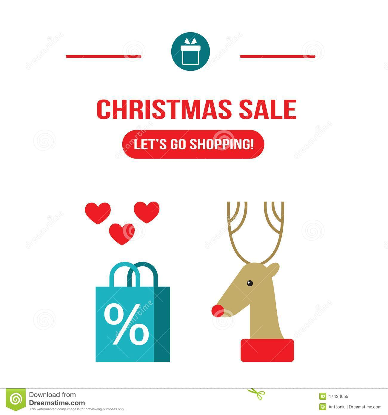 New Year Christmas Sale Let S Go Shopping Design Template