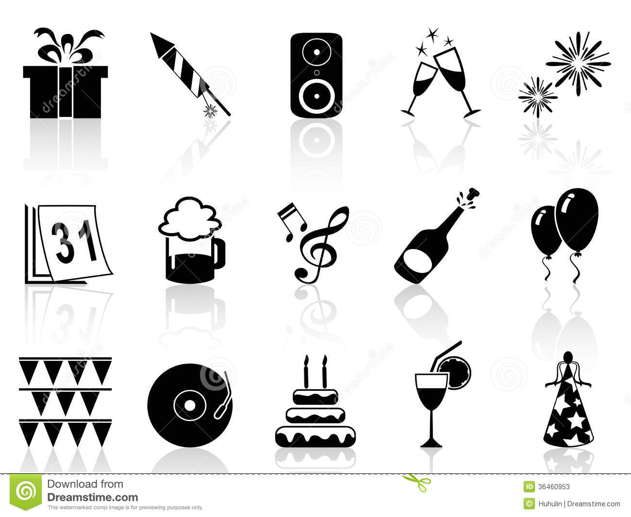 New Year Holiday Icons Set Stock Vector Image Of