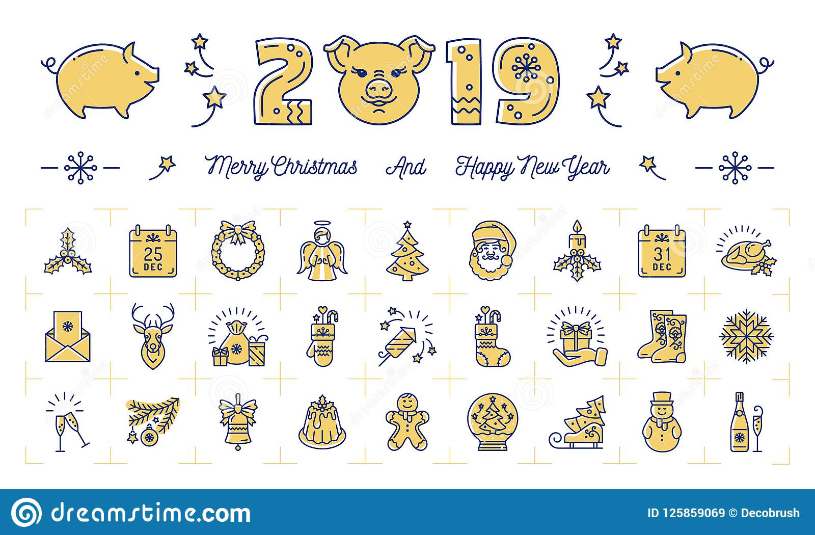 new year icons pig