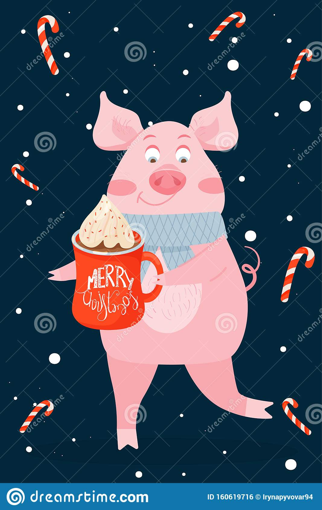 New Year Greeting Card With Funny Pig. Cute Pig With Christmas Cacao. Stock Vector - Illustration of cane. cream: 160619716