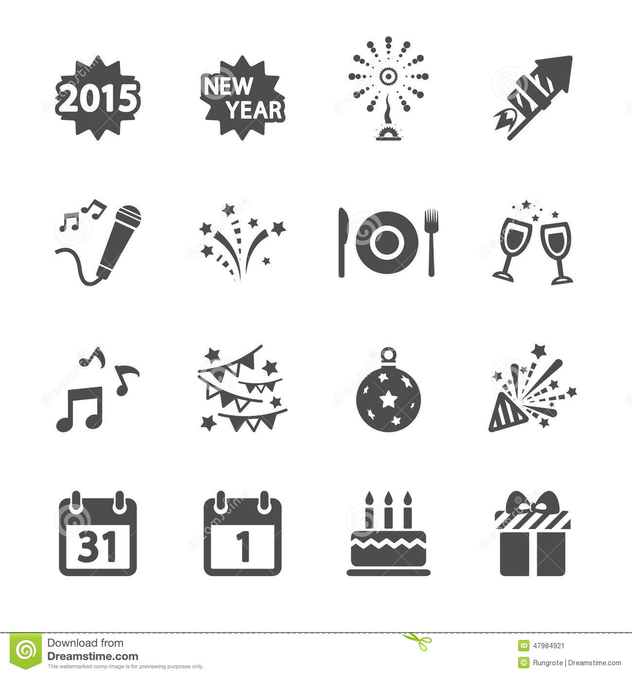 New Year Party Icon Set Vector Eps10 Stock Vector