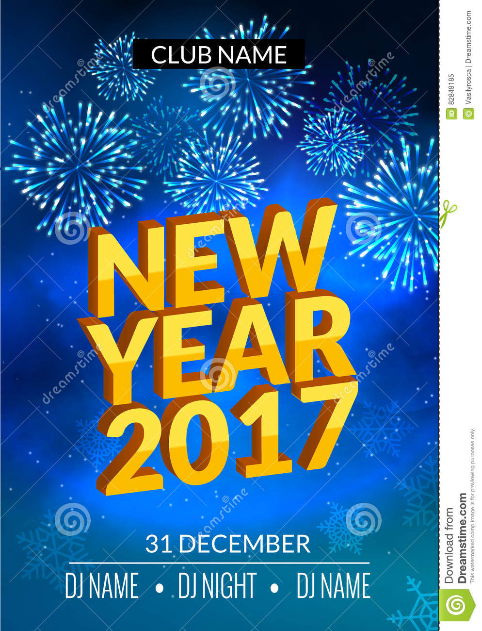 Download New Year Party Poster Design With Fireworks Light. New Year Disco Flyer  Template.