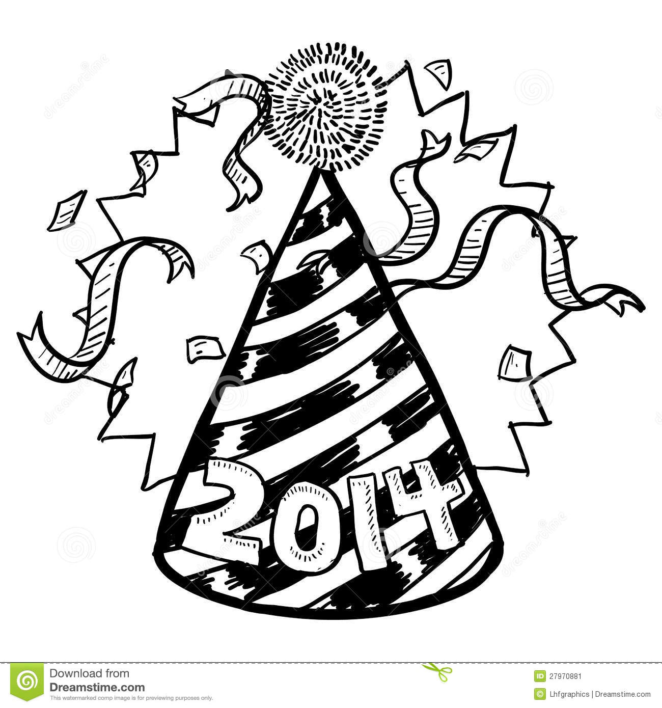 New Year's 2014 Party Hat Sketch Stock Vector