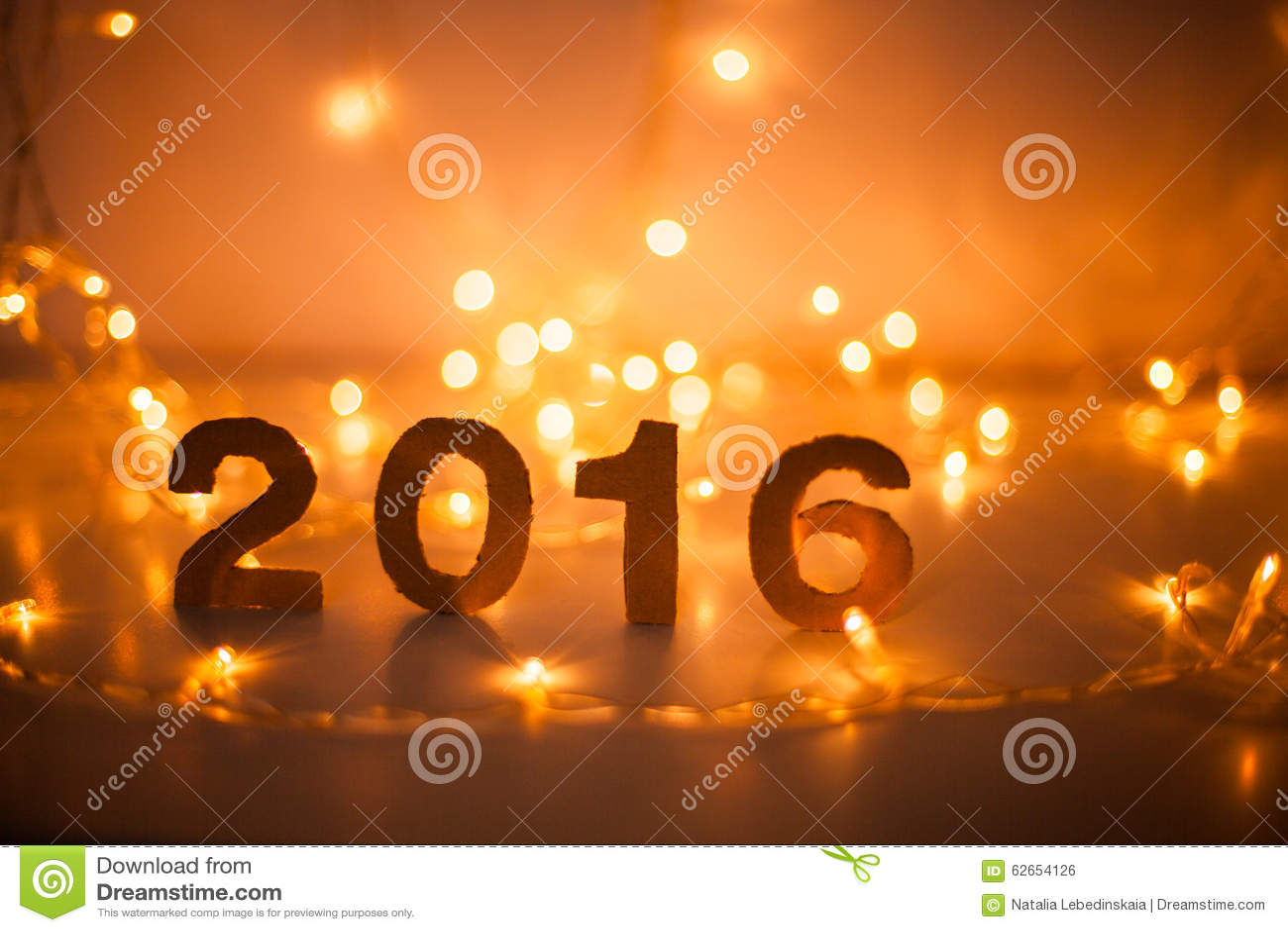 New Years Eve 2016 Lights Figures Made Of Cardboard