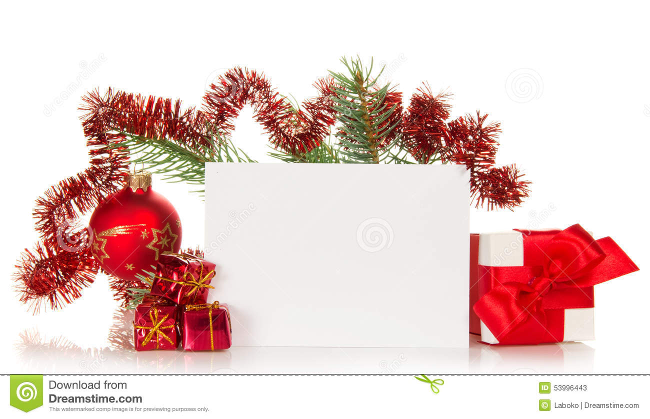 New Years Fir Tree Branch And Christmas Card Stock Photo