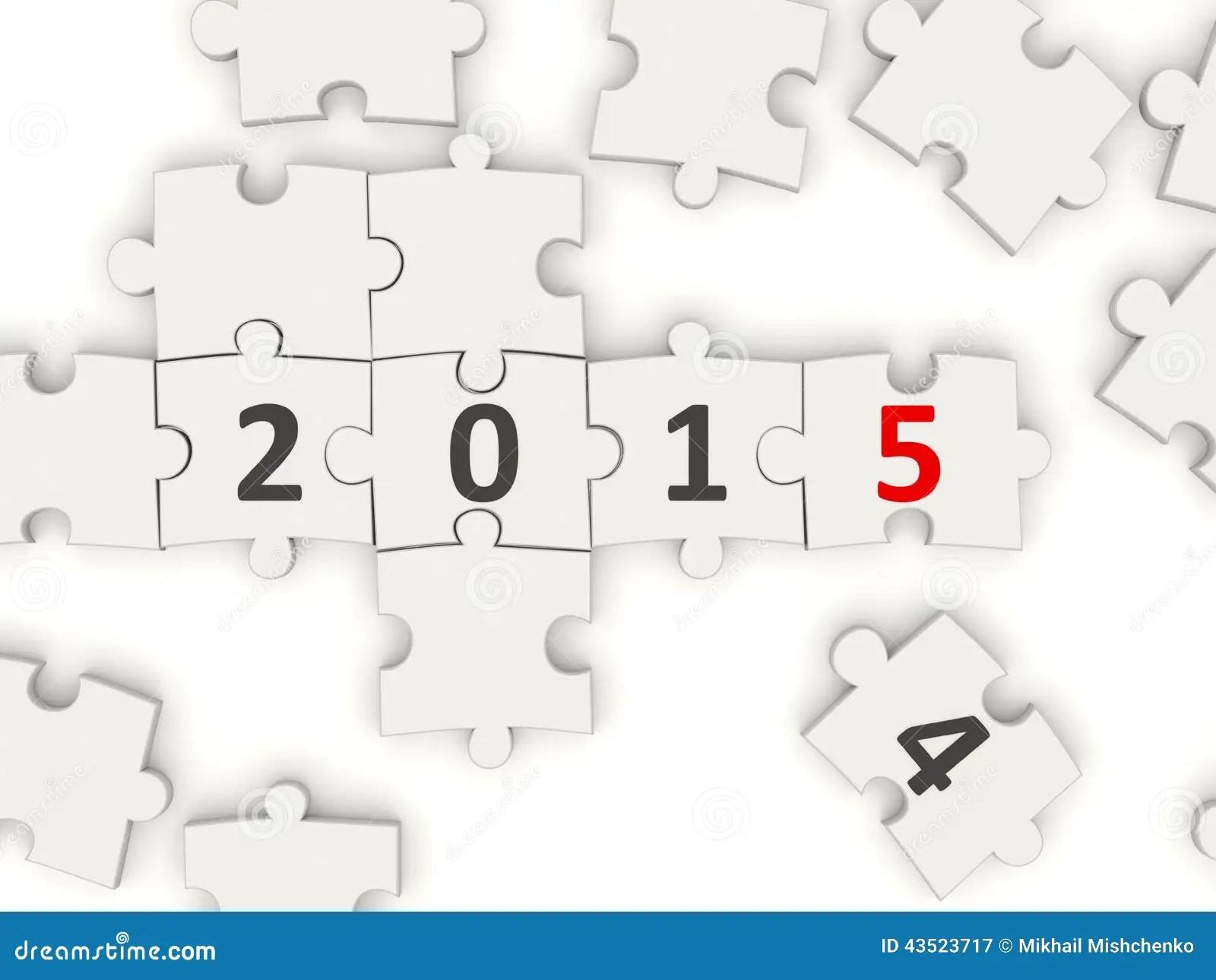2015 New Year Symbol On Puzzle Stock Illustration