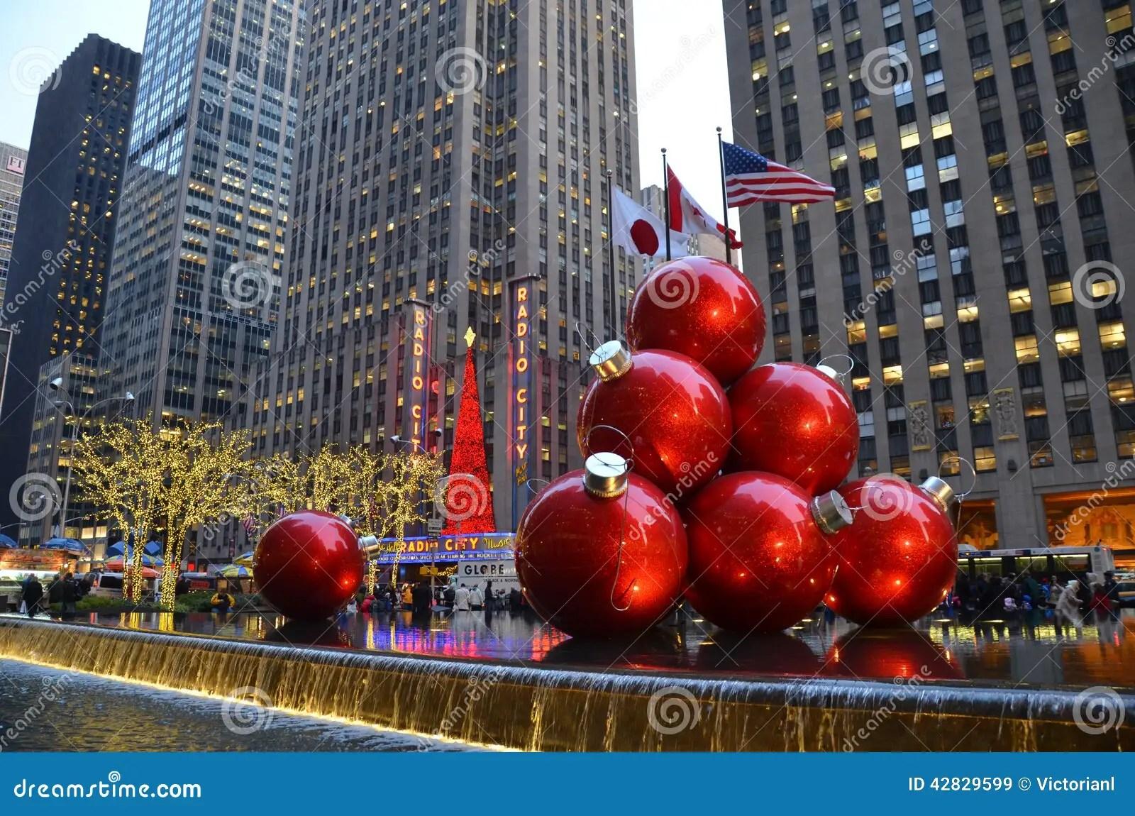 NEW YORK CIGiant Christmas Ornaments In Midtown Manhattan