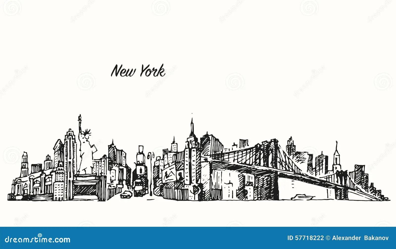 New York City Skyline Vector Illustration Sketch Stock