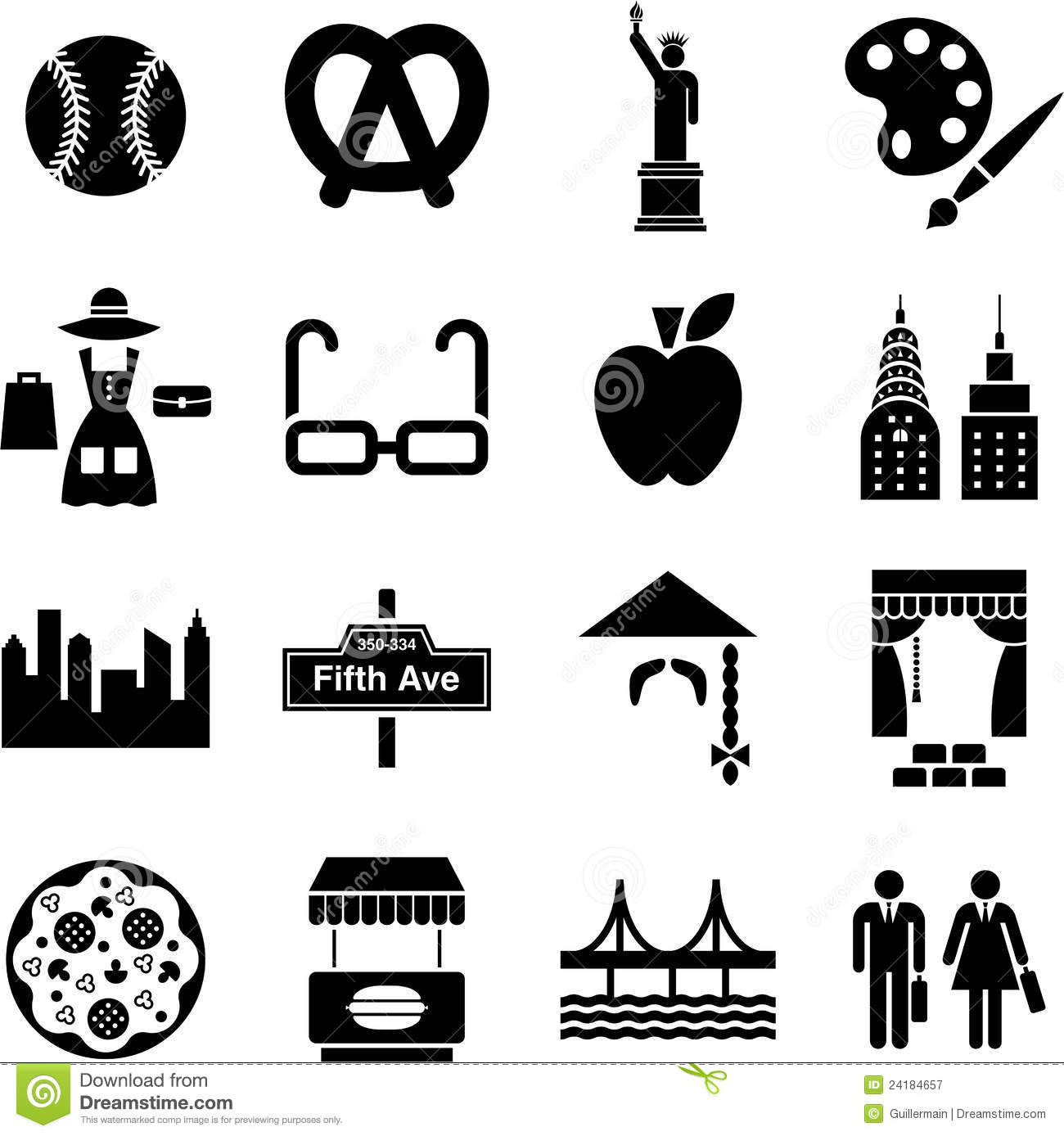 New York Icons Stock Vector Illustration Of Business