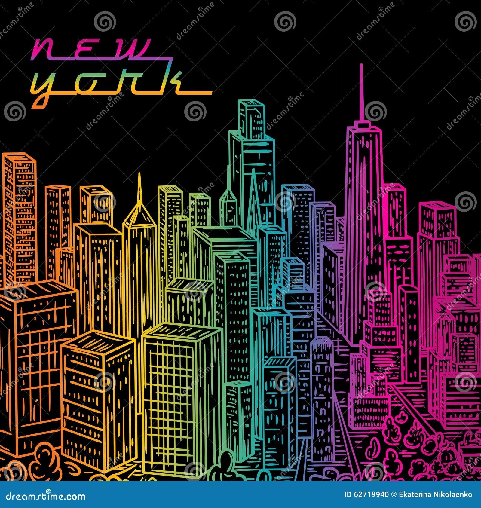 New York Paesaggio Disegnato A Mano Variopinto Dannata Della Citt Di Notte Illustrazione Di