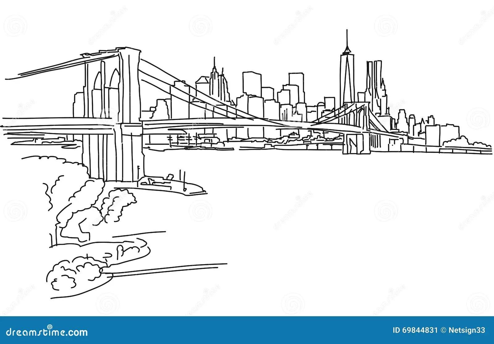 New York Panorama With Brooklyn Bridge Stock Vector