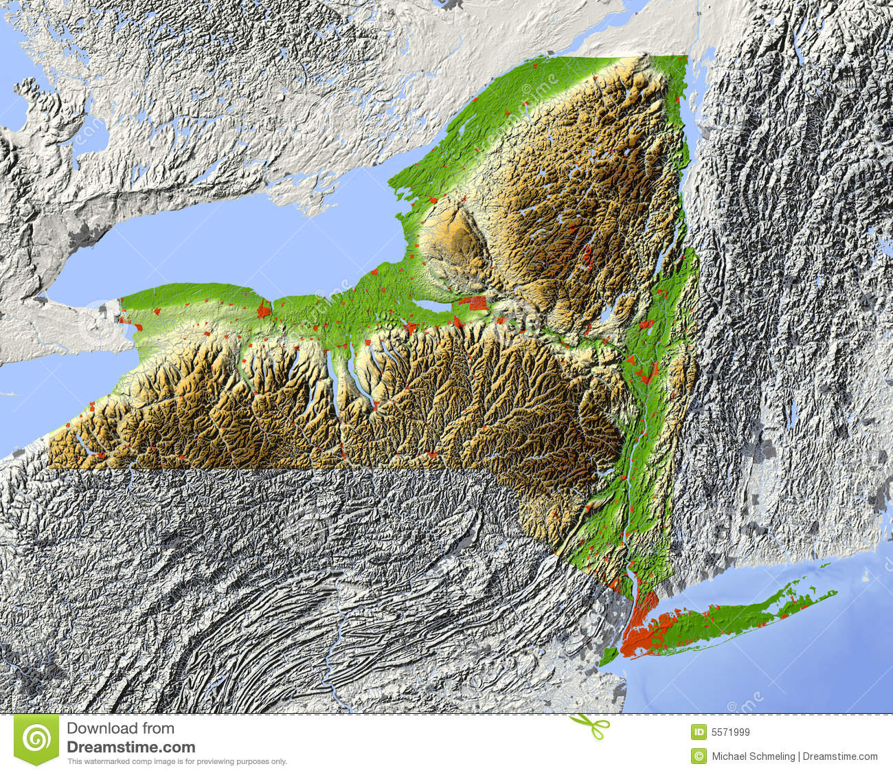 New York Relief Map Of State Royalty Free Stock Images