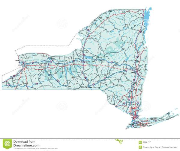 New York State Road Map stock vector Image of america