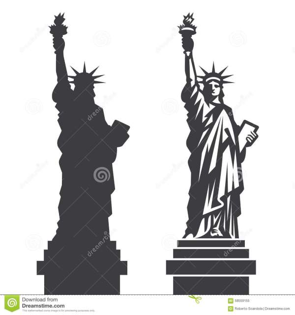 New York Statue Of Liberty Vector Silhouette Stock Vector
