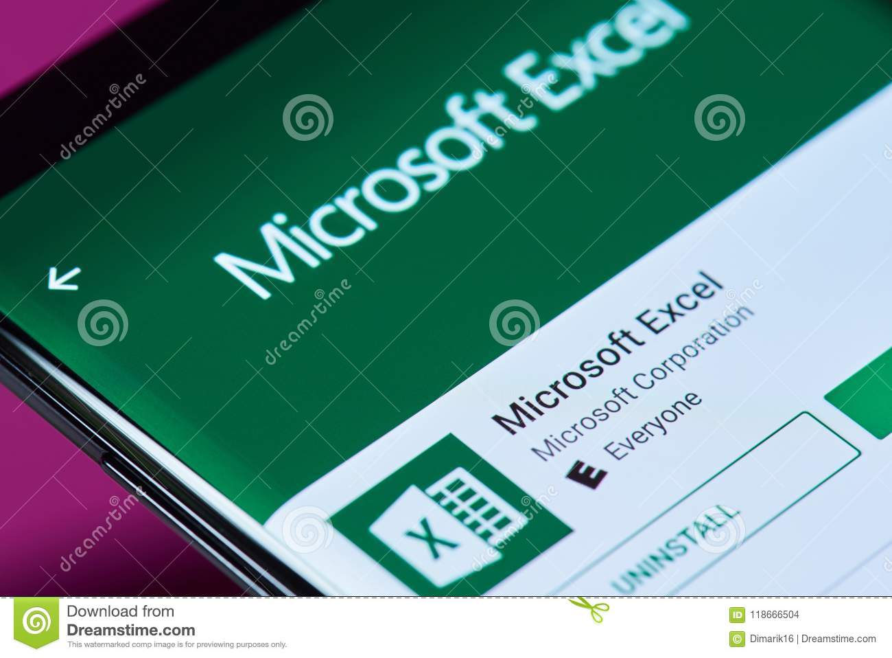 Microsoft Excel Application Editorial Stock Image