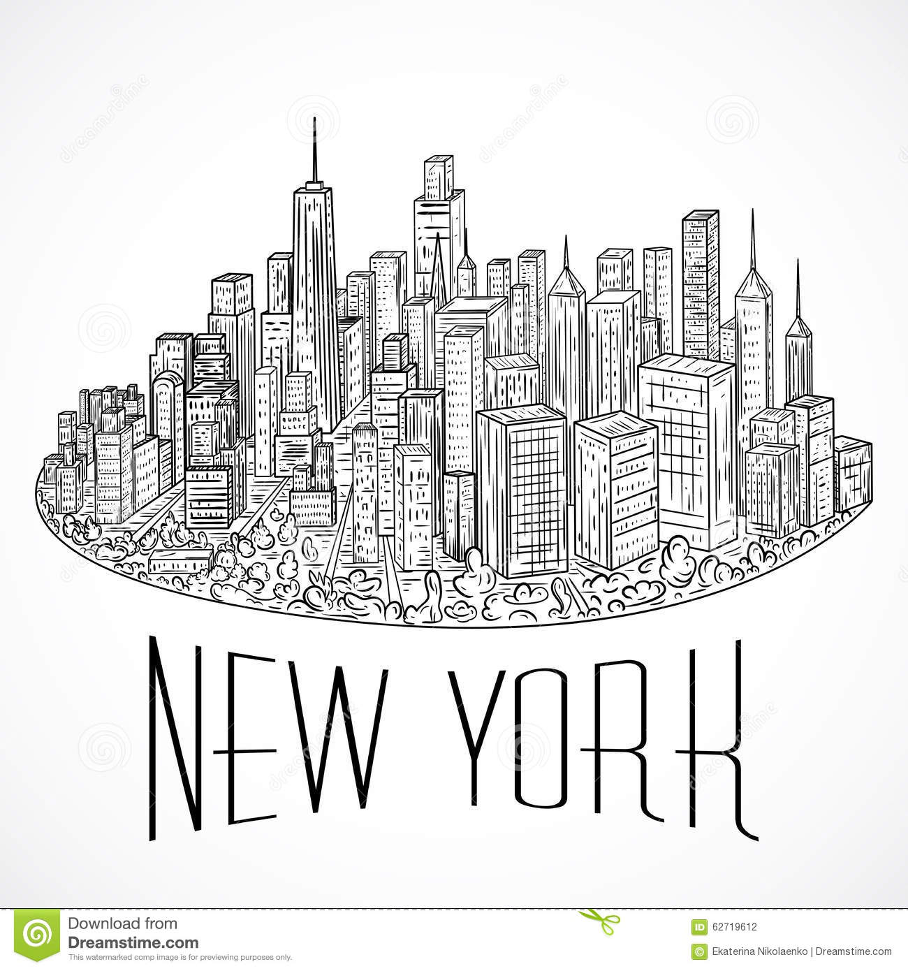 New York Vintage Hand Drawn City Landscape Vector